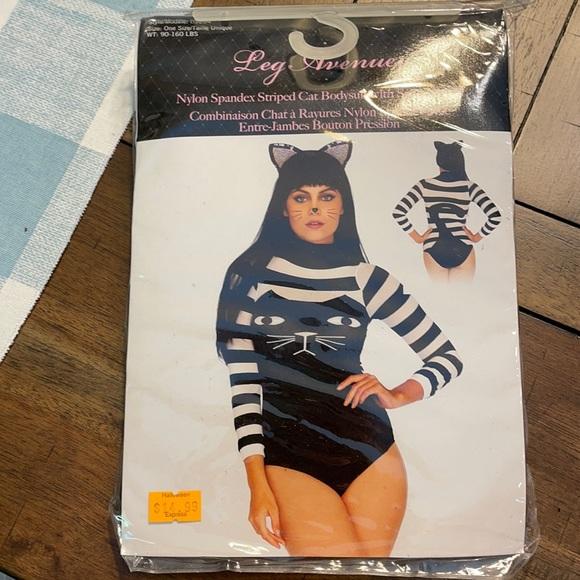 Spandex striped cat bodysuit